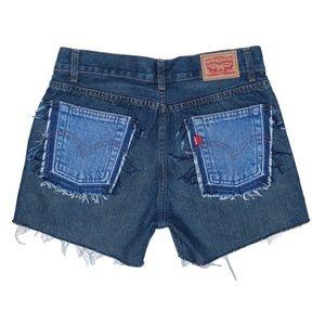 Reworked Dark Wash Levi's Shorts